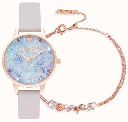 Olivia Burton Bajo el mar | set de regalo reloj y pulsera | lila OBGSET142