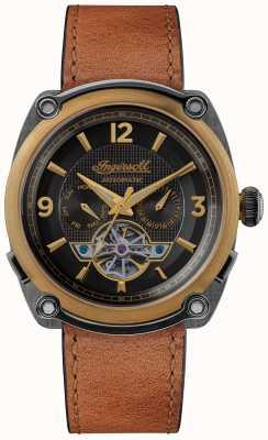 Ingersoll El michigan | enrollador de reloj | correa marrón esfera negra I01104