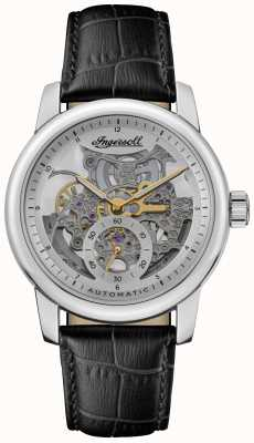 Ingersoll The baldwin automatic silver skeletonized dial correa de cuero negro I11002