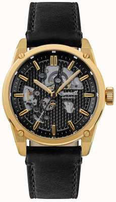Ingersoll The carroll automatic black skeleton dial correa de cuero negro I11601