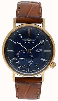Zeppelin Lz120 roma dama   correa de cuero marrón   esfera azul 7137-3