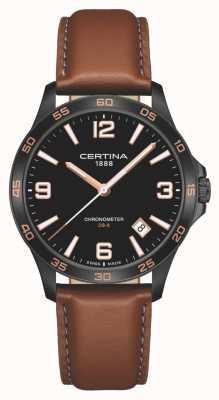 Certina | ds-8 | correa de cuero marrón | esfera negra | cuarzo | C0338513605700