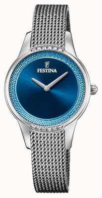 Festina Cerámica para mujeres | pulsera bicolor acero / cerámica | esfera azul F20494/2