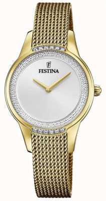 Festina Pulsera de malla de acero chapado en oro para mujer | esfera de cristal plateado F20495/1