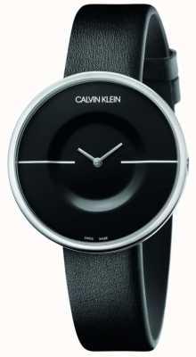 Calvin Klein Mania | correa de piel negra para mujer | esfera negra KAG231C1