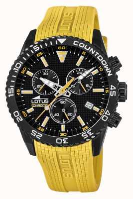 Lotus Correa de silicona amarilla para hombre | esfera de cronógrafo negro L18672/4