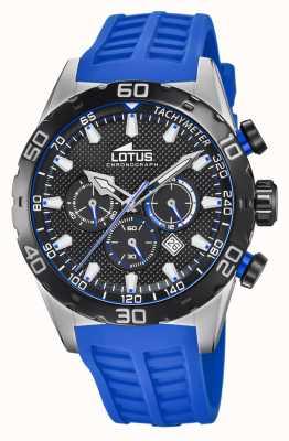 Lotus Color | correa de silicona azul para hombre | esfera de cronógrafo negro L18677/4