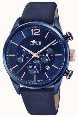 Lotus Correa de cuero azul para hombre | esfera de cronógrafo azul L18681/2