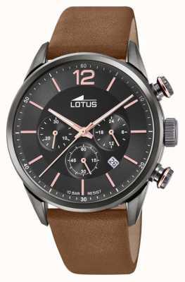 Lotus Correa de cuero marrón para hombre | esfera de cronógrafo negro L18687/2