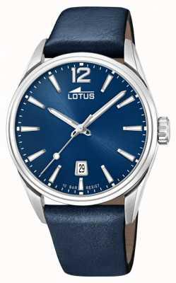 Lotus Correa de cuero azul para hombre | esfera azul L18693/1