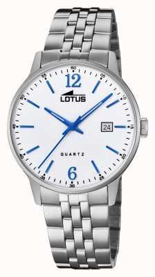 Lotus Pulsera de acero inoxidable para hombre | esfera plateada | manos / marcadores azules L18694/2