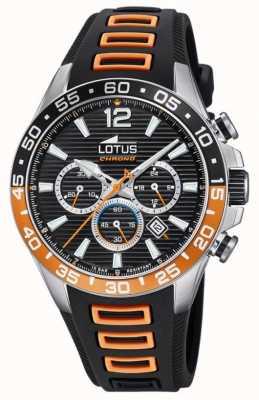Lotus Correa de silicona negra / naranja para hombre | esfera de cronógrafo negro L18697/1