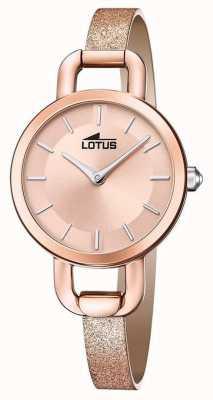 Lotus Correa de piel con purpurina para mujer | esfera de oro rosa L18747/1