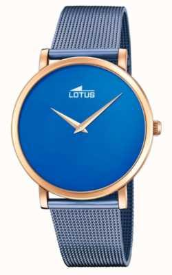 Lotus Pulsera de malla de acero azul para mujer | esfera azul | caja de oro rosa L18773/2