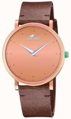 Lotus Correa de piel marrón mujer | esfera de oro rosa L18778/2