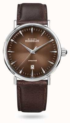 Michel Herbelin Inspiración automática | correa de cuero marrón para hombre | esfera marrón 1647/AP27