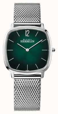 Michel Herbelin Ciudad | pulsera de malla de acero para hombre | esfera verde 16905/16B