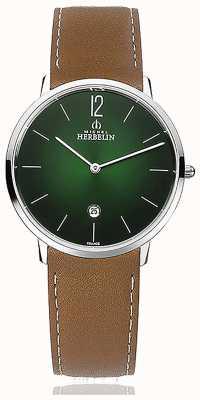 Michel Herbelin Ciudad | correa de cuero marrón para hombre | esfera verde 19515/16NGO