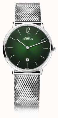 Michel Herbelin Ciudad | pulsera de malla de acero para hombre | esfera verde 19515/16NB