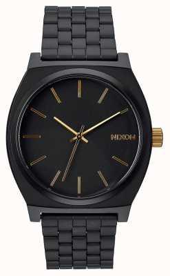 Nixon Cajero del tiempo | negro mate / dorado | pulsera de acero ip negro | esfera negra A045-1041-00
