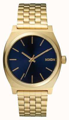 Nixon Cajero del tiempo | todo oro claro / cobalto | pulsera ip oro | esfera azul A045-1931-00