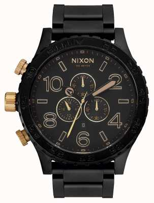 Nixon 51-30 crono | negro mate / dorado | pulsera ip negra | esfera negra A083-1041-00