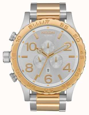 Nixon 51-30 crono | plata / oro | pulsera de dos tonos | esfera plateada A083-1921-00