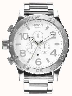 Nixon 51-30 crono | alto brillo / blanco | pulsera de acero inoxidable | esfera blanca A083-488-00