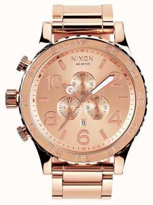 Nixon 51-30 crono | todo oro rosa | pulsera ip oro rosa | esfera de oro rosa A083-897-00