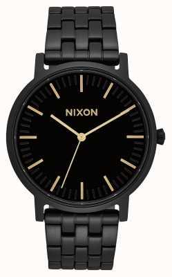 Nixon Porter | todo negro / dorado | pulsera de acero ip negro | esfera negra A1057-1031-00
