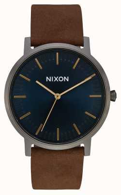 Nixon Porter cuero   gunmetal / índigo / marrón   correa de cuero marrón   esfera índigo A1058-2984-00