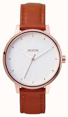 Nixon Cuero Kensington | oro rosa / blanco | correa de cuero marrón | esfera blanca A108-1045-00