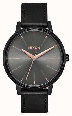 Nixon Cuero Kensington | negro / bronce | correa de cuero negro A108-1420-00