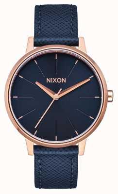 Nixon Cuero Kensington | azul marino / oro rosa | correa de cuero azul | esfera azul A108-2195-00