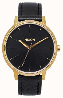 Nixon Cuero Kensington | dorado / negro | correa de cuero negro | esfera negra A108-513-00