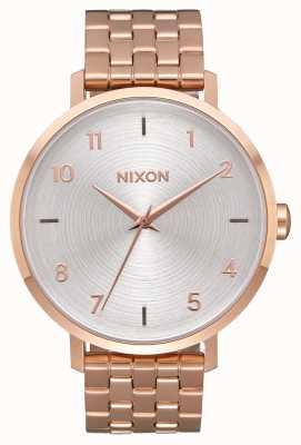 Nixon Flecha | todo oro rosa / blanco | pulsera de acero ip oro rosa | esfera plateada A1090-2640-00