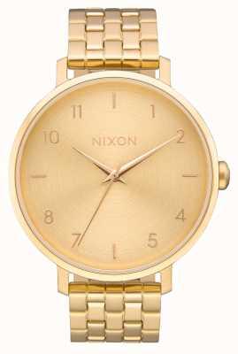 Nixon Flecha | todo el oro | pulsera de acero ip oro | esfera de oro A1090-502-00