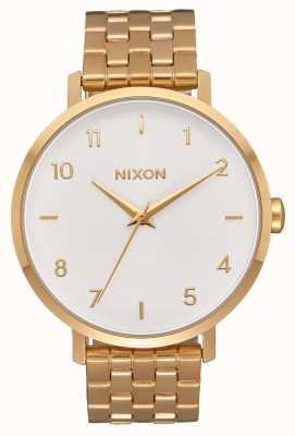 Nixon Flecha | todo dorado / blanco | pulsera de acero ip oro | esfera blanca A1090-504-00