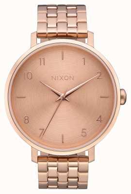 Nixon Flecha | todo oro rosa | pulsera de acero ip oro rosa | esfera de oro rosa A1090-897-00