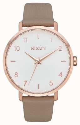 Nixon Flecha de cuero | oro rosa / gris | correa de piel gris | esfera blanca A1091-2239-00