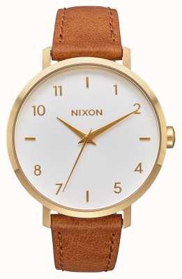 Nixon Flecha de cuero | oro / blanco / silla de montar | correa de cuero marrón | esfera blanca A1091-2621-00