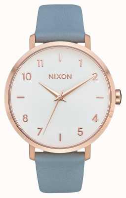 Nixon Flecha de cuero   oro rosa / azul   correa de cuero azul   esfera blanca A1091-2704-00