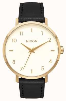Nixon Flecha de cuero   dorado / crema / negro   correa de cuero negro   esfera crema A1091-2769-00
