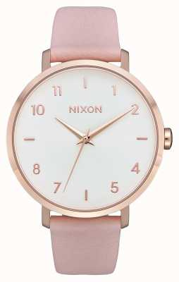 Nixon Flecha de cuero   oro rosa / rosa claro   correa de piel rosa   esfera blanca A1091-3027-00