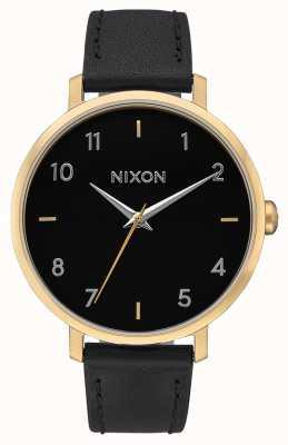 Nixon Flecha de cuero | dorado / negro | correa de cuero negro | esfera negra A1091-513-00