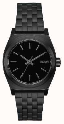 Nixon Cajero de tiempo medio | todo negro | pulsera de acero ip negro | esfera negra A1130-001-00