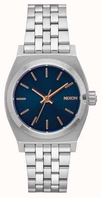 Nixon Cajero de tiempo medio | azul marino / oro rosa | pulsera de acero inoxidable | esfera azul marino A1130-2195-00