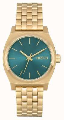 Nixon Cajero de tiempo medio | oro claro / turquesa | pulsera de acero ip dorado A1130-2626-00