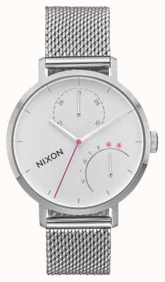 Nixon Embrague | todo plata | malla de acero inoxidable | esfera blanca A1166-1920-00