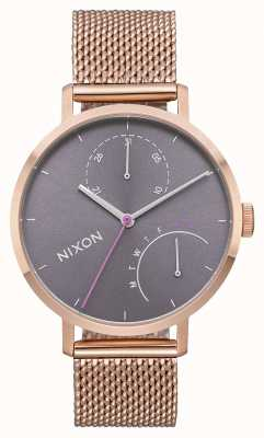 Nixon Embrague | todo oro rosa / gris | malla de acero ip oro rosa | esfera gris A1166-2618-00